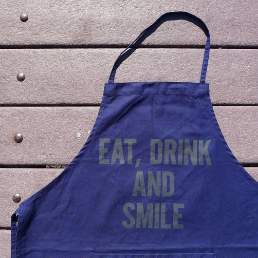 "DRESSSEN  DR(NAVY)5 APRON ""EAT,DRINK AND SMILE """