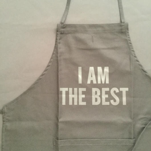 "[新色] DRESSSEN  ADULT APRON DB(BLK)3  ""I AM THE BEST ""BLACK COLOR"
