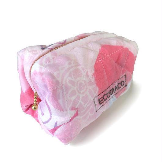ステンドグラスのようなカラフル☆キルティング キャラメルポーチ / ピンク