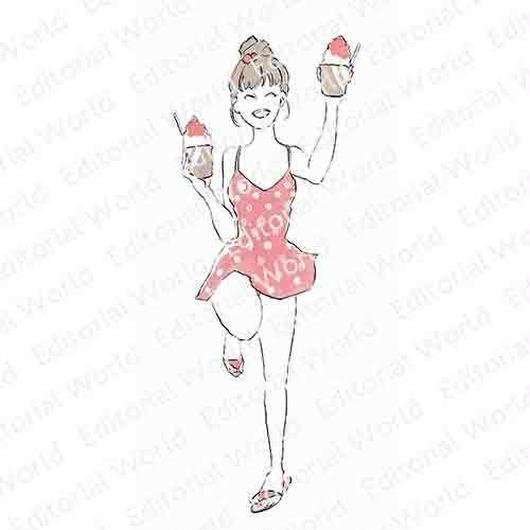 カキ氷好きな水着の女性のイラスト swimwear-girl04