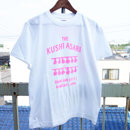 串あさりTシャツ スタンダード  White × Pink+Backprint