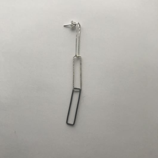 Rectangle earring, a3 / SV-SV-BK