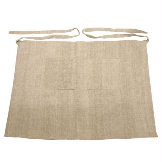 ラオスの手織り泥染め エプロン(長丈・2ポケット)