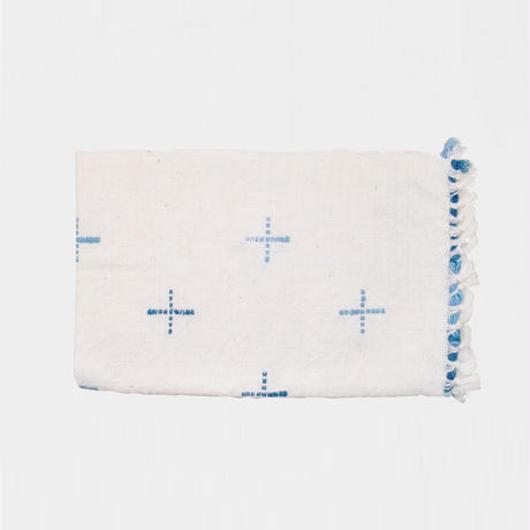 手紬ぎプレイスマット(青)  Handspun place mat (blue)