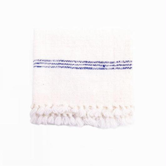 手紬ぎクロス (青ストライプ)  Handspun cloth (blue)