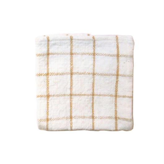 手紬ぎハンカチ (茶チェック)  Handspun handkerchief (brown check)