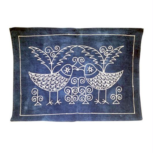貴州省苗族ロウケツ染めランチョンマット(鳥の絵)