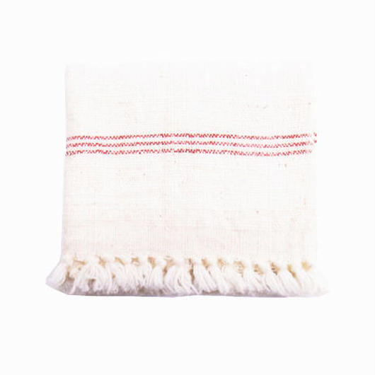 手紬ぎクロス(赤ストライプ)  Handspun cloth (red stripe)