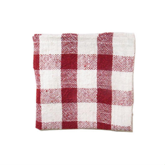 手紬ぎハンカチ (赤ギンガム)  Handspun handkerchief (red gingham)