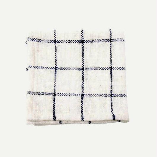 手紬ぎハンカチ (青チェック)  Handspun handkerchief (blue check)