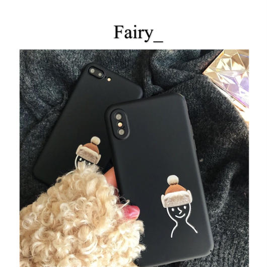 【M1811007】iPhone ケース  可愛い帽子  クロ