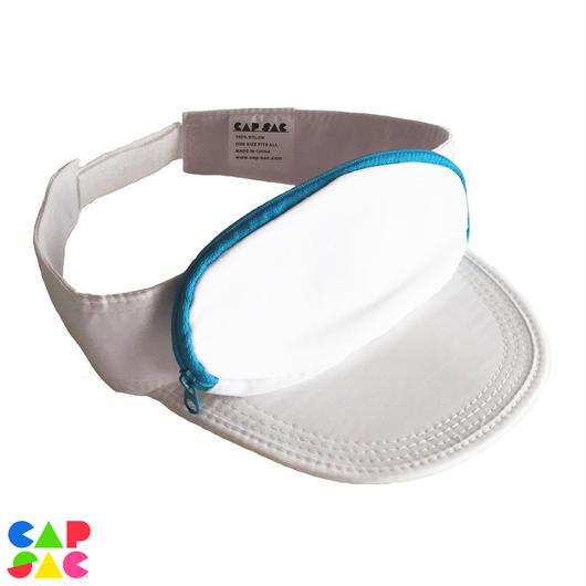 CAP-SAC サンバイザー (WHITE / TURQUOISE  ZIPPER)