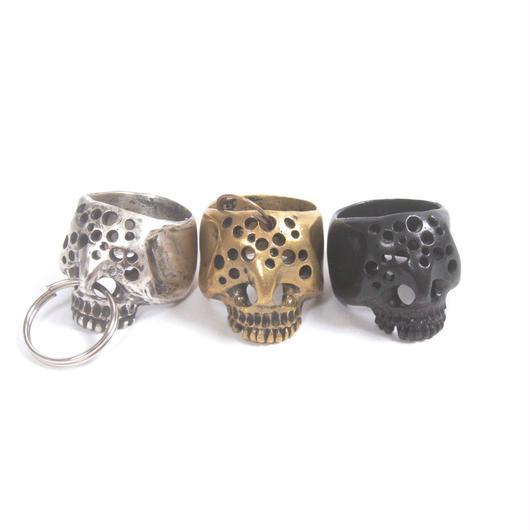 hole skull ring brass