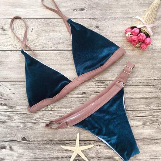 ベロアバイカラー三角ビキニセット 水着(2色)