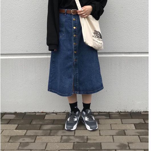 【sold out】コットン ミモレ丈デニムスカート