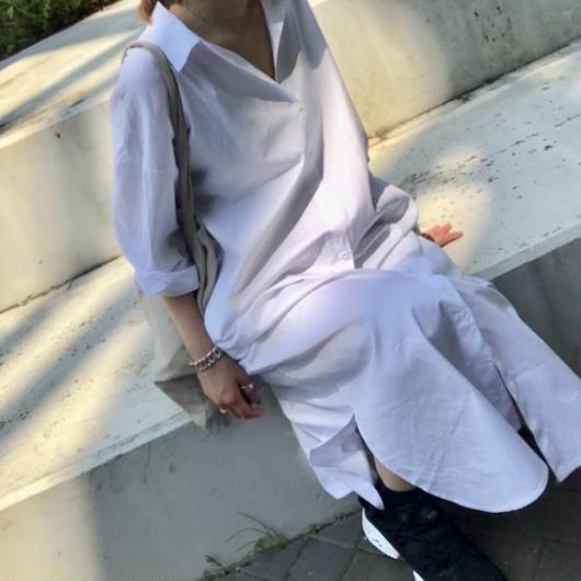 【即納】ロングシャツワンピース white