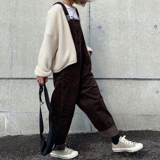 【予約】コーデュロイ サロペット brown