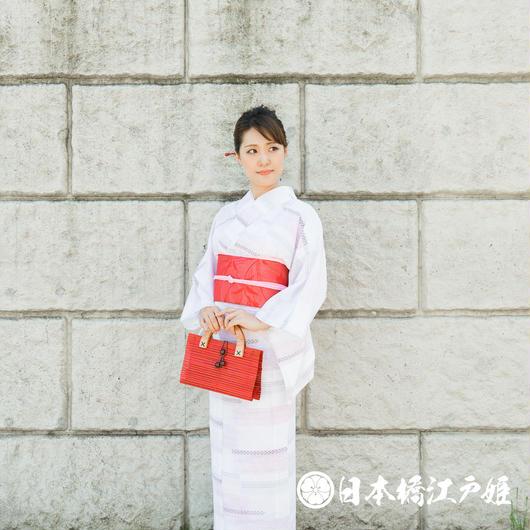 0202 美品☆夏着物(薄物) 小紋 絽 化繊
