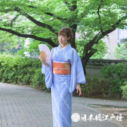 0194 夏着物(薄物) 小紋 絽 化繊