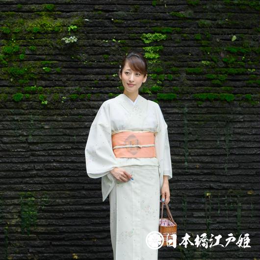 0223 美品☆夏着物(薄物) 小紋 絽 化繊
