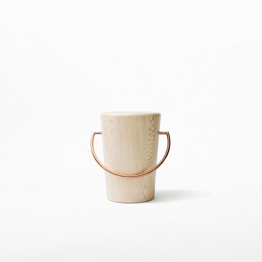 MASS Series  Hundle Stool-Natural Wood & Copper Frame