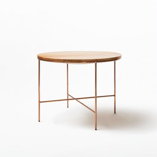 MASS Series 900Round Table-Natural Wood & Copper Frame