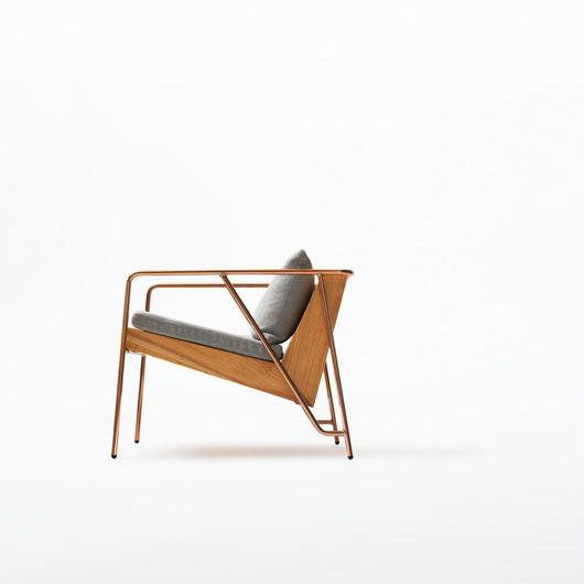 MASS Series Lounge Chair-Natural Wood & Copper Frame