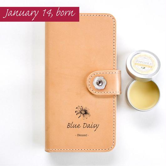 本革スマホケース 1月14日生まれの方 誕生花:ブルーデイジー 花言葉:恵まれて