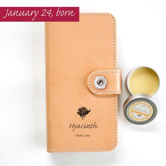 本革スマホケース 1月24日生まれの方 誕生花:ヒヤシンス(紫) 花言葉:優しくかわいい