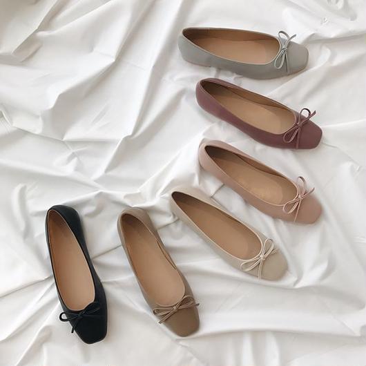 Square toe flat shoes (6color)