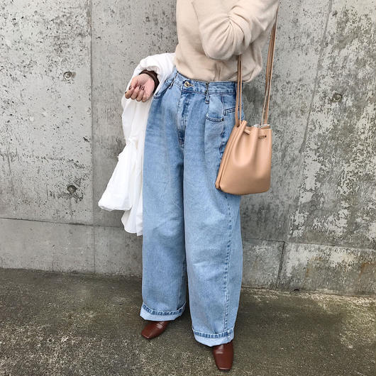 waist design wide denim pants