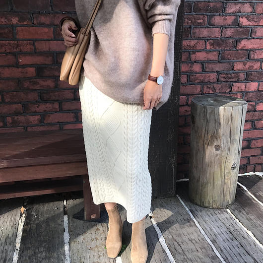 cable knit skirt (2color)