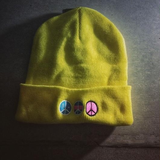 iSOLATED ARTS PEACE(i)LOGO KNIT CAP (Lime)