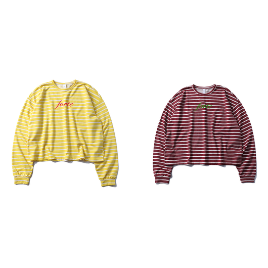 forte BORDER L/S T-shirts Super Wide Silhouette(Yellow/Wine)
