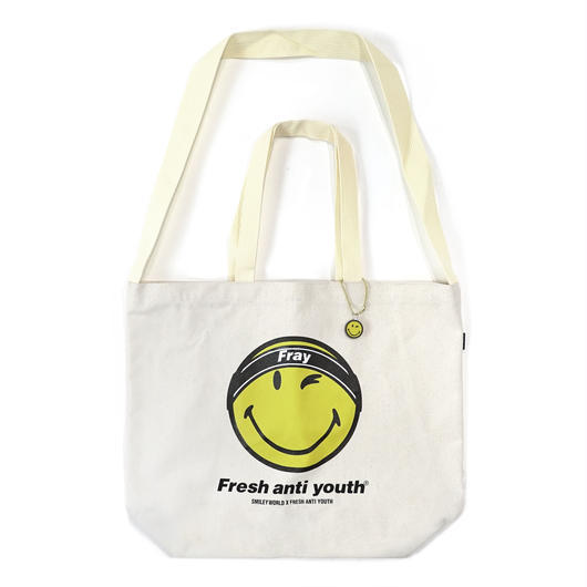 FRAY LOGO SMILE SHOLDER BAG-NATURL