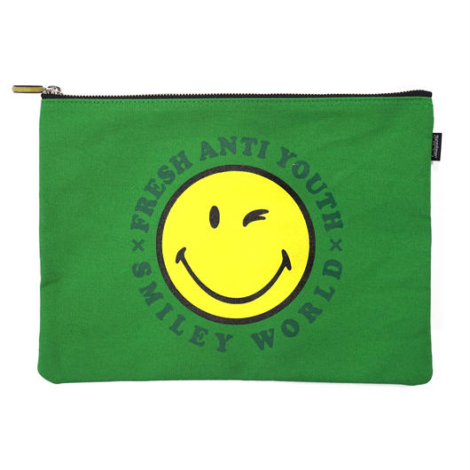 SMILEY LOGO POUCH BAG (大)-GREEN