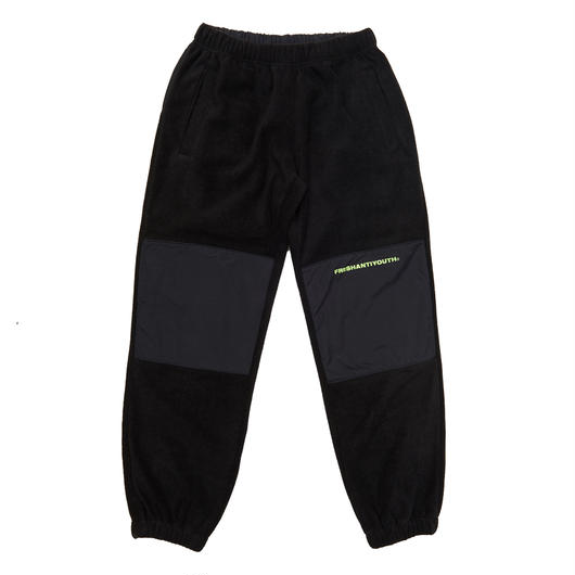 CUT FLEECE PANTS  BLACK