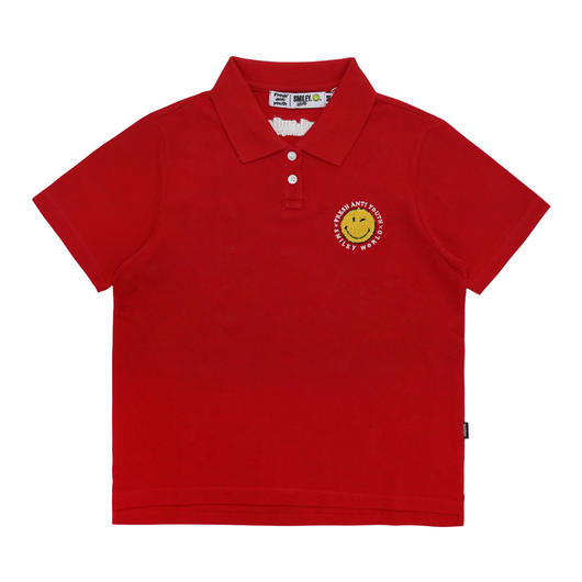 ANTI SMILE POLO SHIRTS (FOR WOMEN)-RED