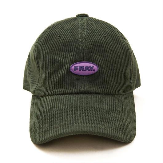 FRAY CORDUROY LOGO CAP GREEN