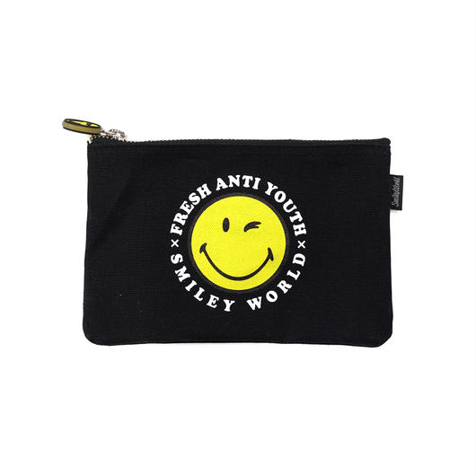 SMILEY LOGO POUCH BAG (小)-BLACK