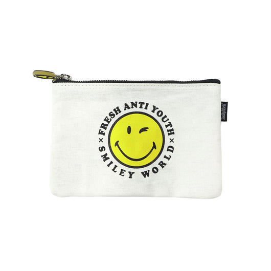 SMILEY LOGO POUCH BAG (小)-WHITE