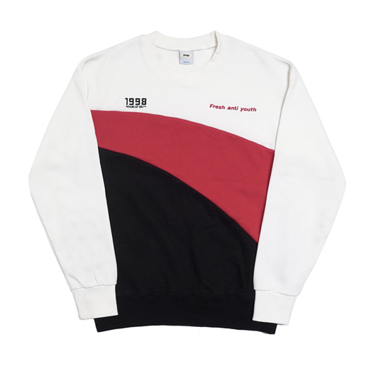 Wave-Crewneck Sweater – White
