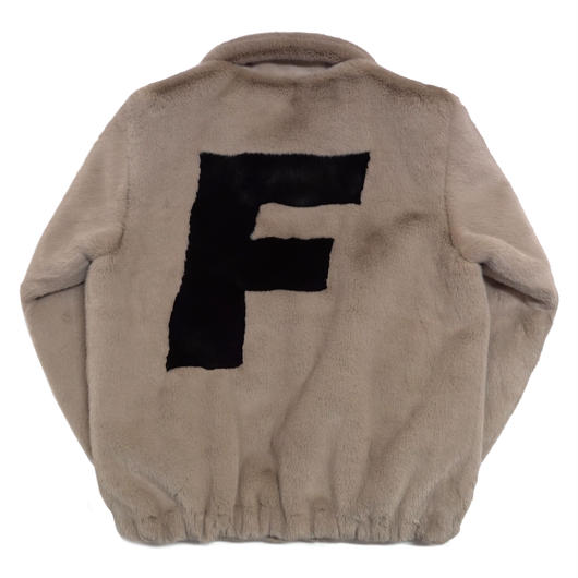 LOGO FUR JACKET-BEIGE
