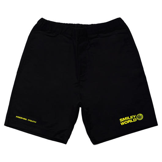 SMILEY WORDL RELAX SHORT PANTS-BLACK