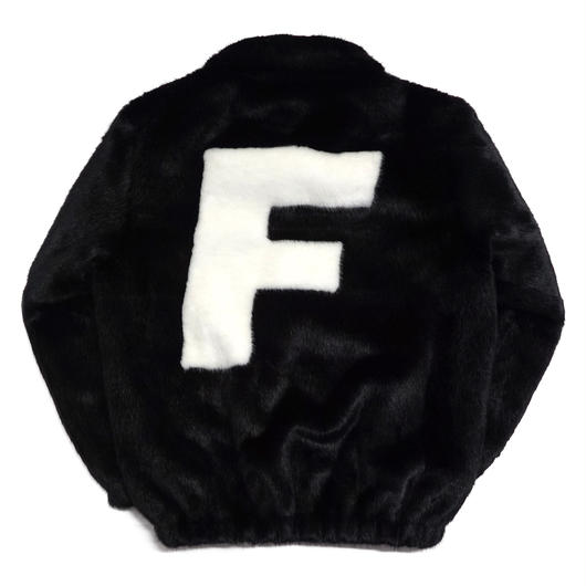 LOGO FUR JACKET-BLACK