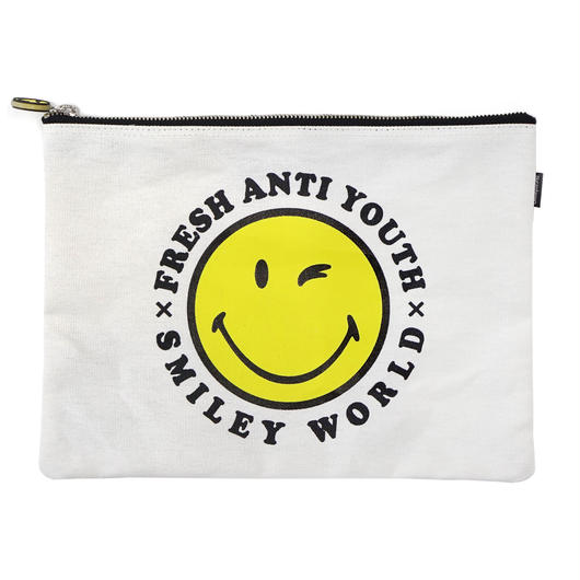 SMILEY LOGO POUCH BAG (大)-NATURL
