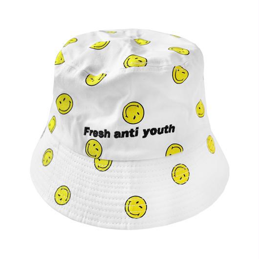 SMILEY BUCKET HAT-WHITE