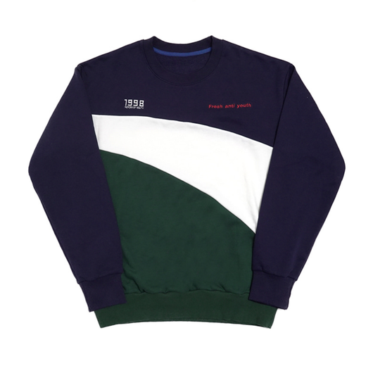 Wave-Crewneck Sweater – Navy
