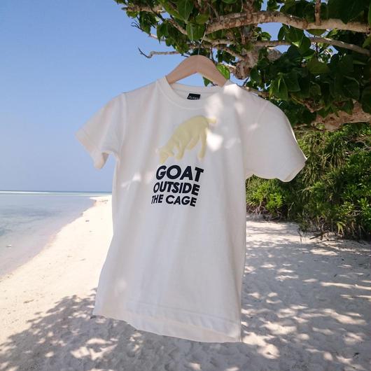 沖縄の金網の外にいる山羊は安全か? Tシャツ /ホワイト