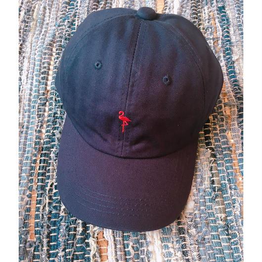 フラミンゴ刺繍キャップ